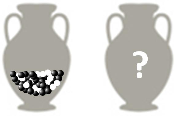 urne met zwarte en witte knikkers